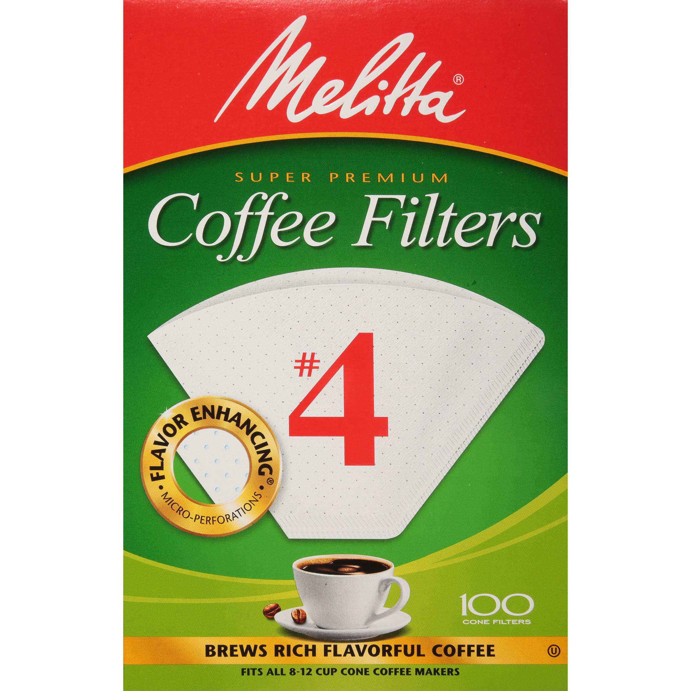 Melitta Cone Coffee Filter, White No. 4, 100 Count (Pack of 6)
