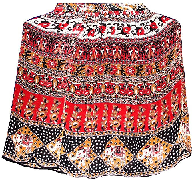 294a193af0 Highwaypay Women's Jaipuri Indian Rayon Skirt Ankle Length Bohemian Crinkle  Fabric Broomstick Summer Maxi Skirt Elephant Tassel Elastic Waist 1845 at  Amazon ...