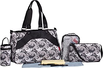 SoHo Designs ALL-IN-ONE Diaper Bag Paisley 8 in 1 Set