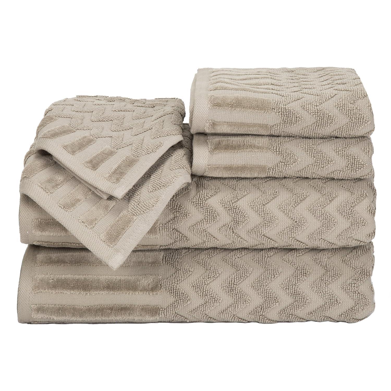 Bedford Home Chevron Egyptian Cotton 6-Piece Towel Set, Bone 67A-27537