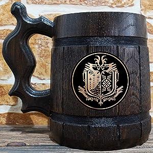 Monster Hunter World Wooden Beer Mug, MHW Beer Stein, Gamer Gift, Personalized Beer Stein, Monster Hunter Tankard, Custom Gift for Men, Gift for Him