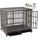 KELIXU Heavy Duty Dog Crate Large Dog cage Dog Kennels and Crates for Large Dogs Indoor Outdoor with Double Doors, Locks and Lockable Wheels