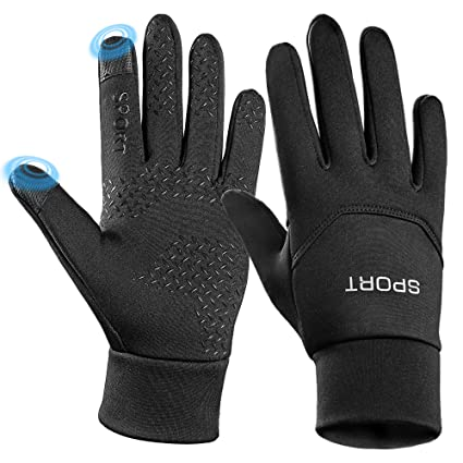 Men's Gloves Windproof Pu Leather Ski Gloves Cold Protection Touch Screen Cycling Non-slip Gloves For Men Women Thickening Fleece Waterproof Jade White