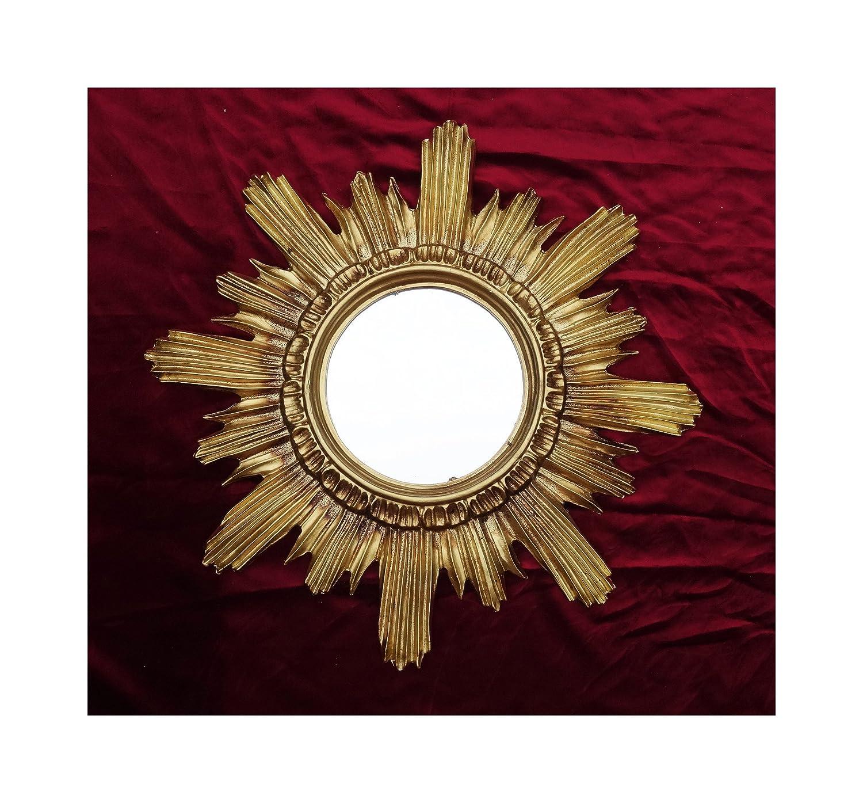 BAROCK ANTIK WANDSPIEGEL SONNE IN GOLD 42x42 CM RUND RUNDER REPRO SPIEGEL SUN Made in Italy