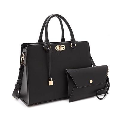 4d1ed3265d2b Women s Fashion Handbags Tote Purses Shoulder Bags Top Handle Satchel Purse  Set 2pcs 01- Black