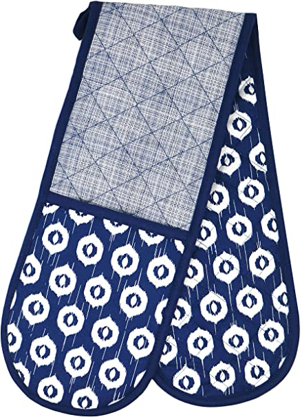 Double Oven Glove Home Cooking /& Baking Pot Holders Kitchen Gloves Deep Blue