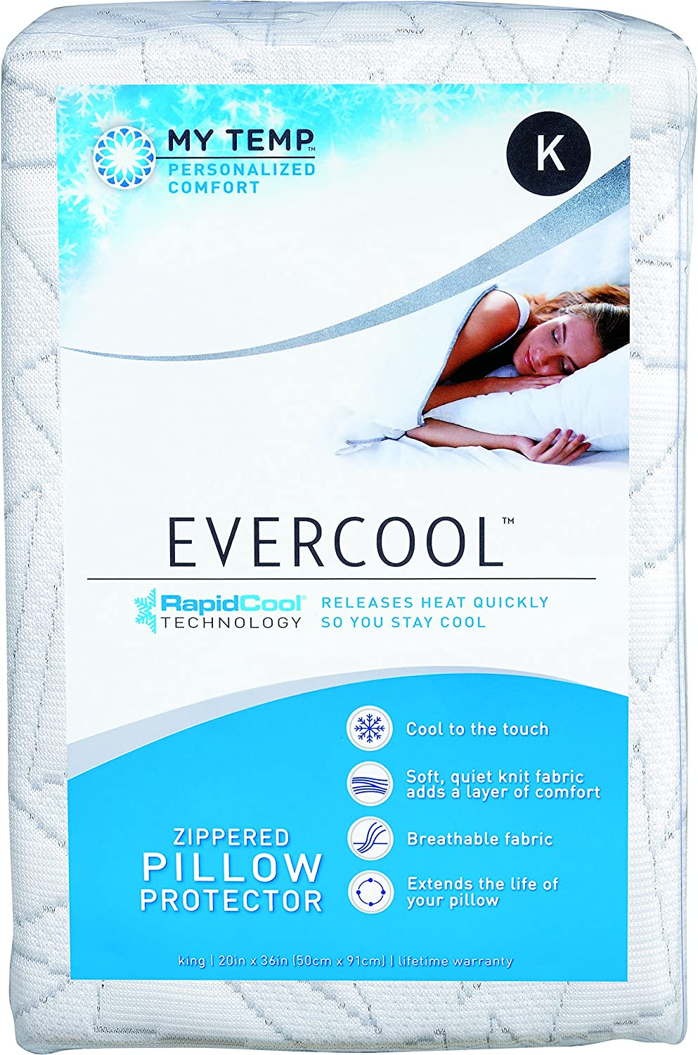Aller-Ease Evercool Cooling, King-2 Pack Pillow Protectors, White