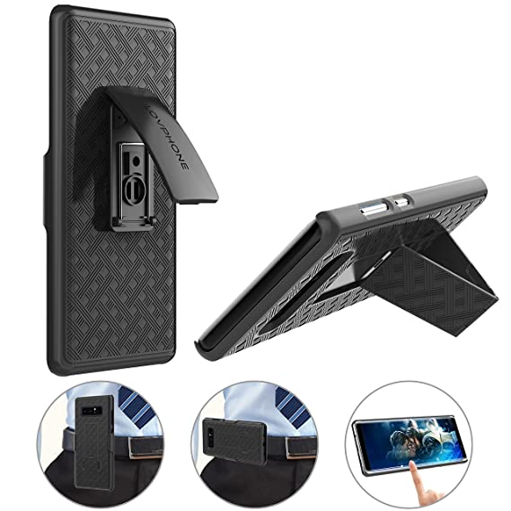 premium selection 27656 89b2d Galaxy Note 8 Belt Clip Case: LOVPHONE Secure Belt Clip Holster & Kickstand  Combo 180° Degree Rotating Locking Swivel + Shockproof Protection(Black)