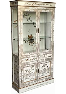 Oriental Chinese Furniture   White Lacquer Display Cabinet With Mother Of  Pearl
