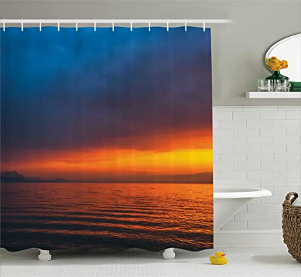 Ambesonne Seascape Shower Curtain Sunset Over The Lake Dusk Cloudy Sky Calm Evening Water Reflection