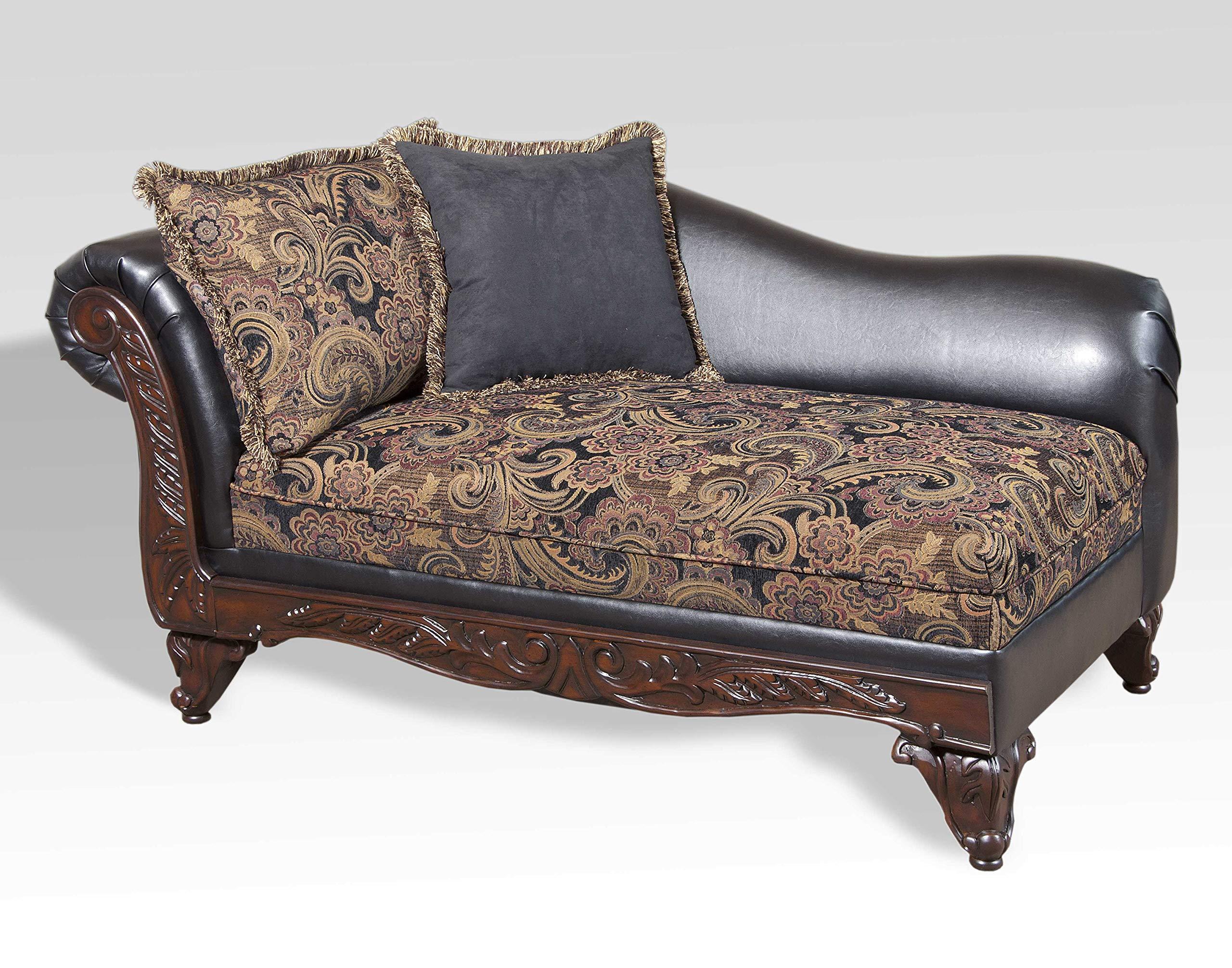 Roundhill Furniture San Marino 2-Tone Fabric Chaise, Chocolate by Roundhill Furniture
