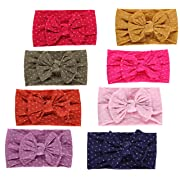 Qandsweet Baby Girl's Beautiful Headbands Elastic Hairband for Photograph (Dots Styles of 8)