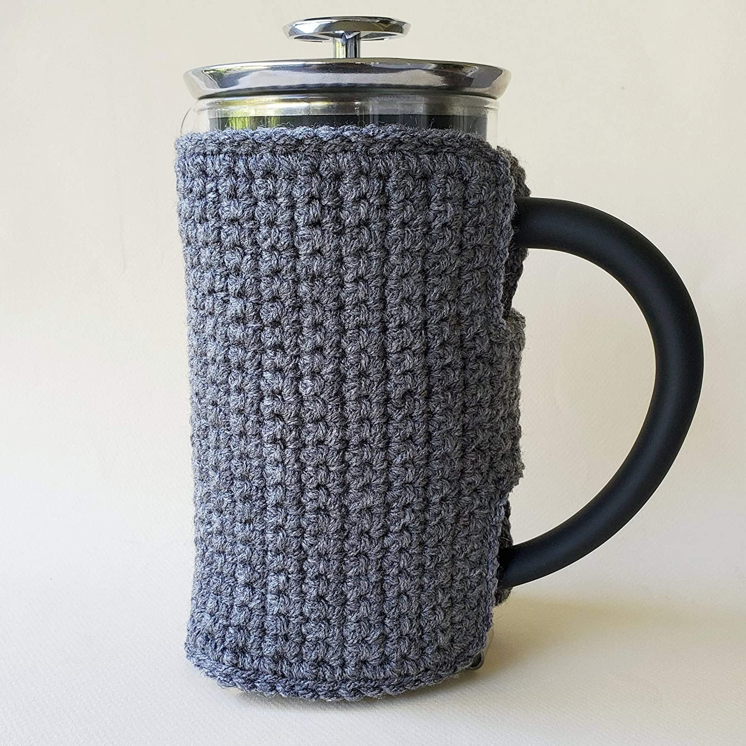 Aran Cable Knit French Press Coffee Cozy in Steel Gray