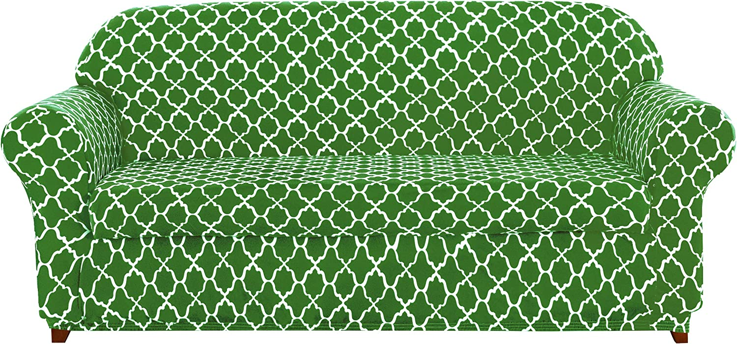 subrtex Slipcovers Arm Chair Stretch Couch Settee Slip Protector Loveseat 2-Piece Spandex Printing Sleeper Furniture Cover Home Decor for LivingRoom(Sofa,Bright Green)