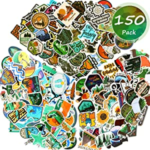 150 Pieces Adventure Outdoor Stickers Wilderness Nature VSCO Waterproof Stickers Decals Hiking Camping Travel Vinyl Water Bottle Sticker for Laptop Luggage Bike Car Guitar Motorcycle Bumper Skateboard