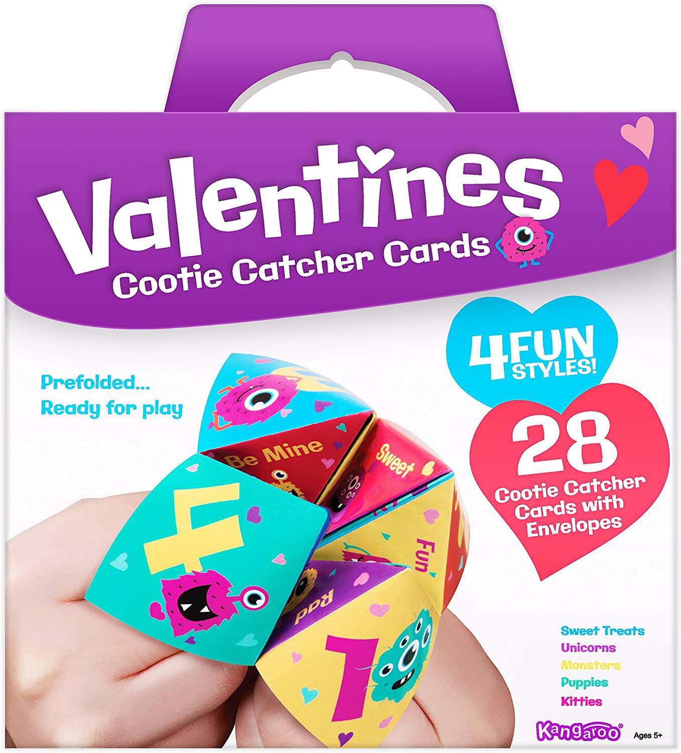 Kangaroo Cootie Catcher Valentine's Cards (28-Count)