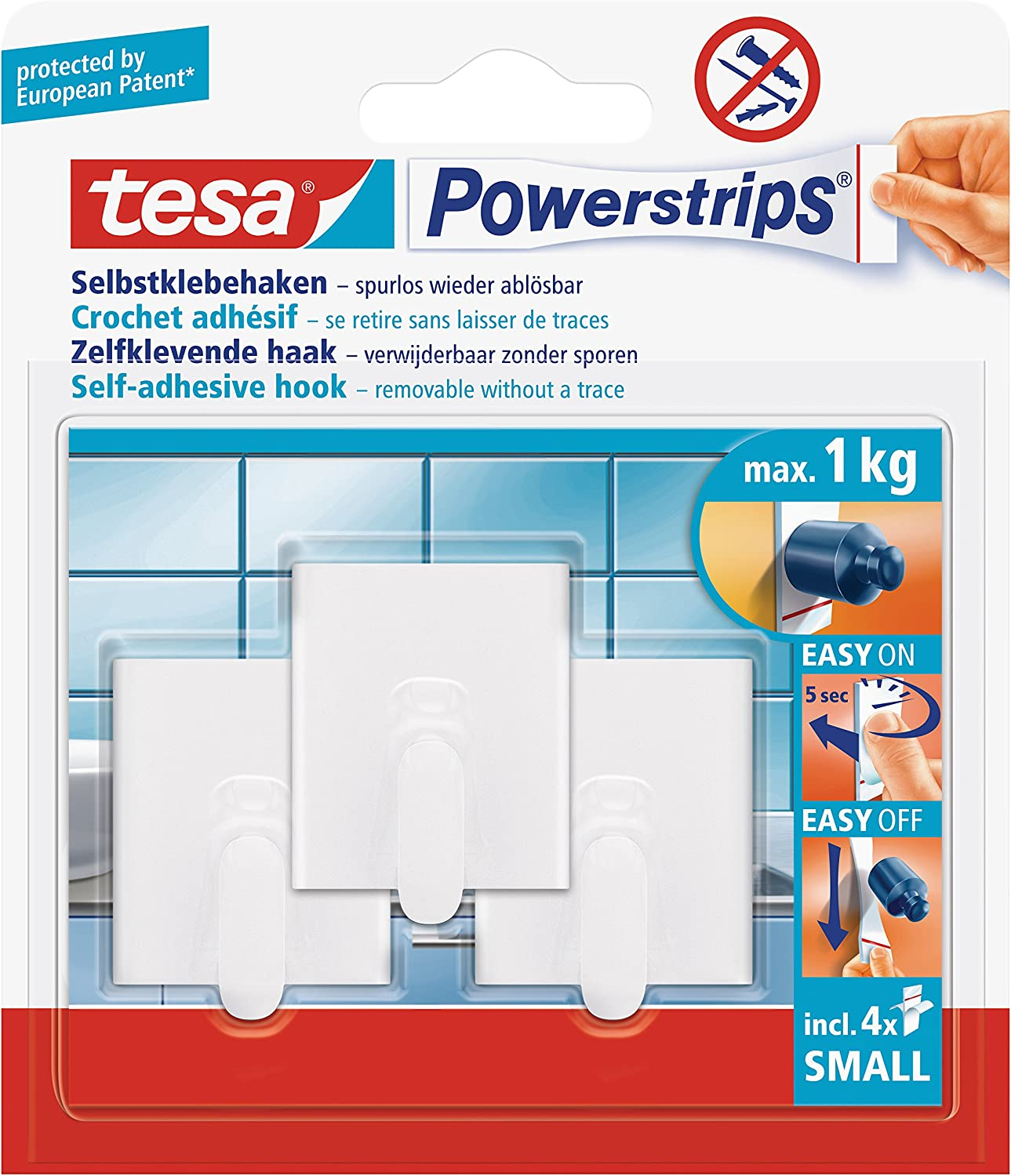 4 Mini Languettes Chrome Tesa 57540-00012-00 Powerstrips 3 mini crochets rectangulaires