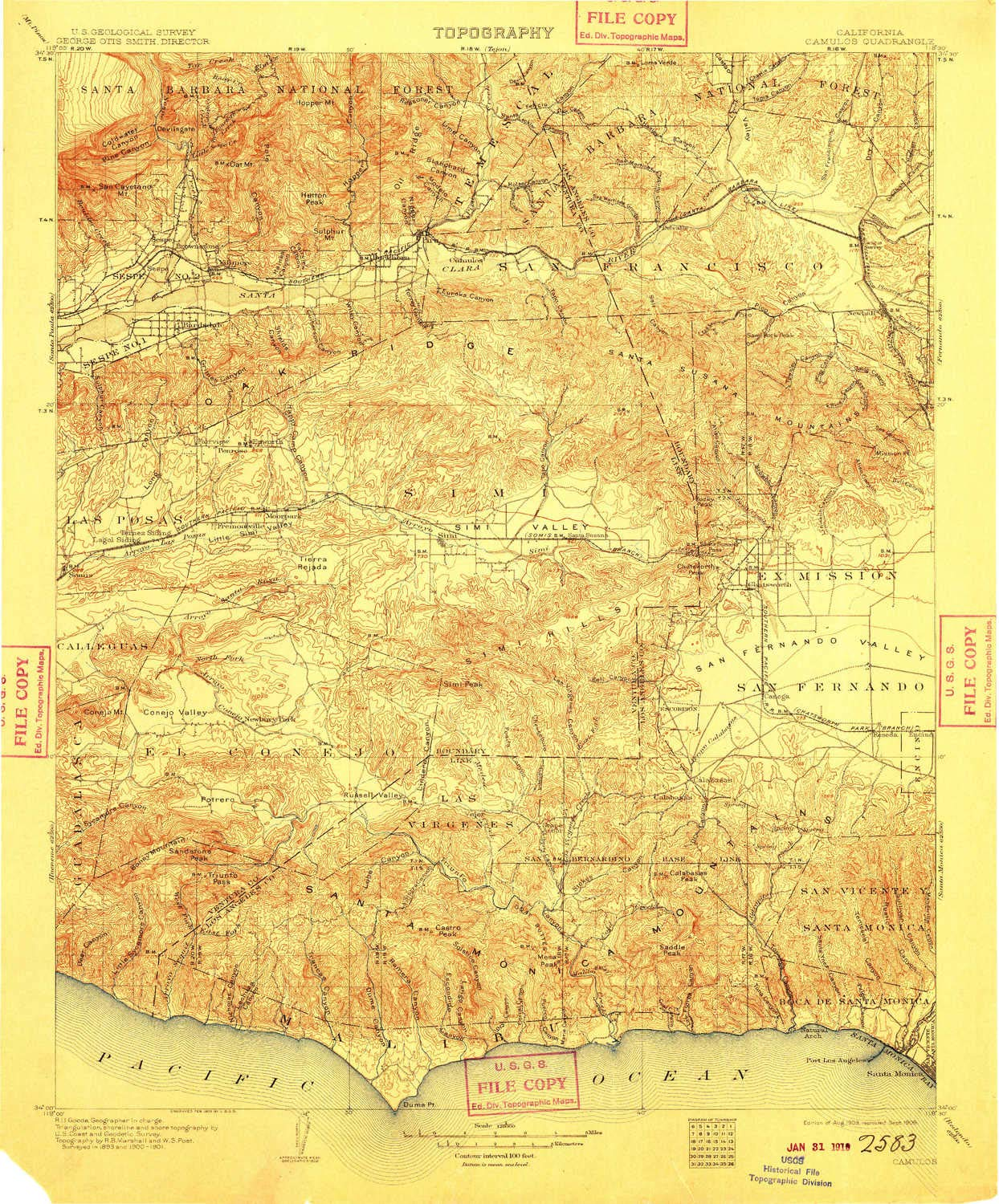 YellowMaps Camulos CA topo map, 1:125000 Scale, 30 X 30 Minute, Historical, 1903, Updated 1909, 19.9 x 16.5 in - Tyvek by YellowMaps