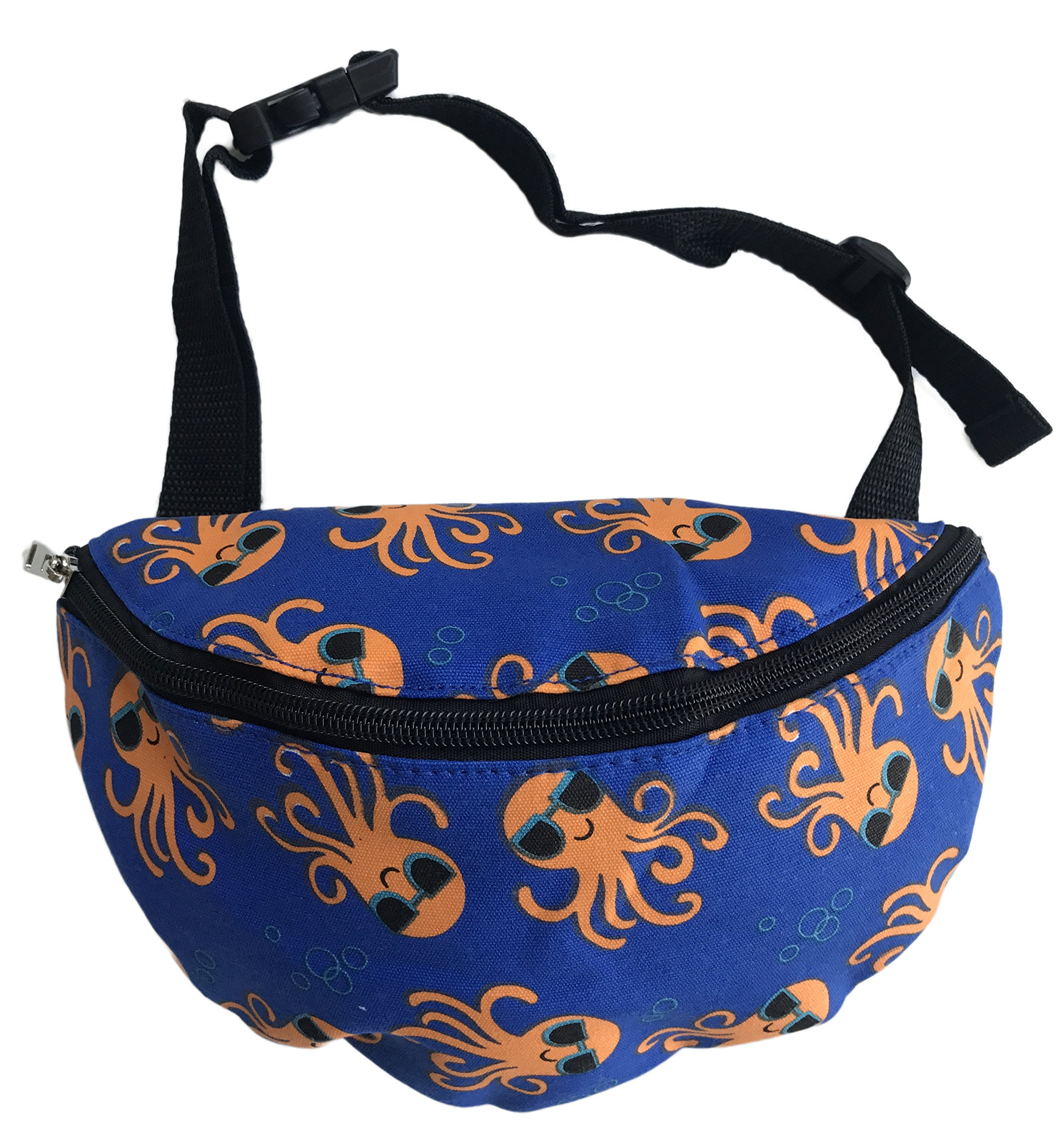 Orange Octopus in Sunglasses on Blue Waist Fanny Pack