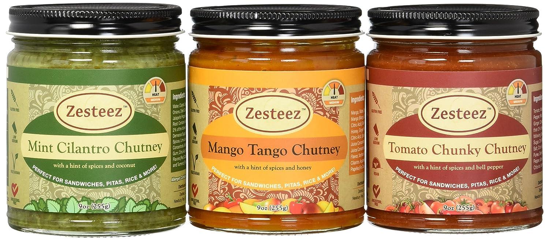 Zesteez Premium Combo Pack Mint Cilantro, Mango Tango & Tomato Chunky, 9 oz Each, 3 Count