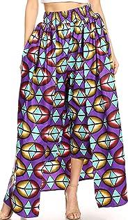 Sakkas Tasha Women's African Ankara Wax Capri Harem Pants w/Pockets & Overlay