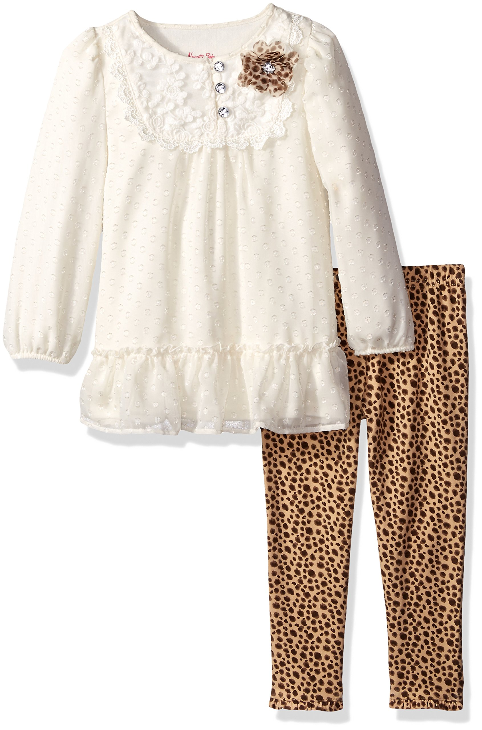 Nannette Little Girls' Toddler Long Sleeve Textured Chiffon Tunic with Iridescent Clip, Ivory, 4T