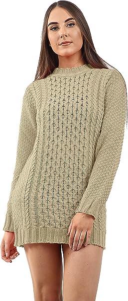 Women/'s Ladies Knit Stylish Trendy Warm Polo Jumper Sweater Dress
