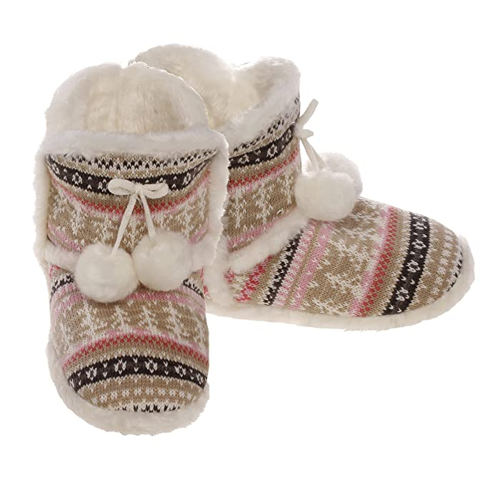 44f2832fb0bf Emmalise Women s Knit Slipper Boots with Pom Pom Indoor Lounge Fur Shoes -  Front PomPom Khaki
