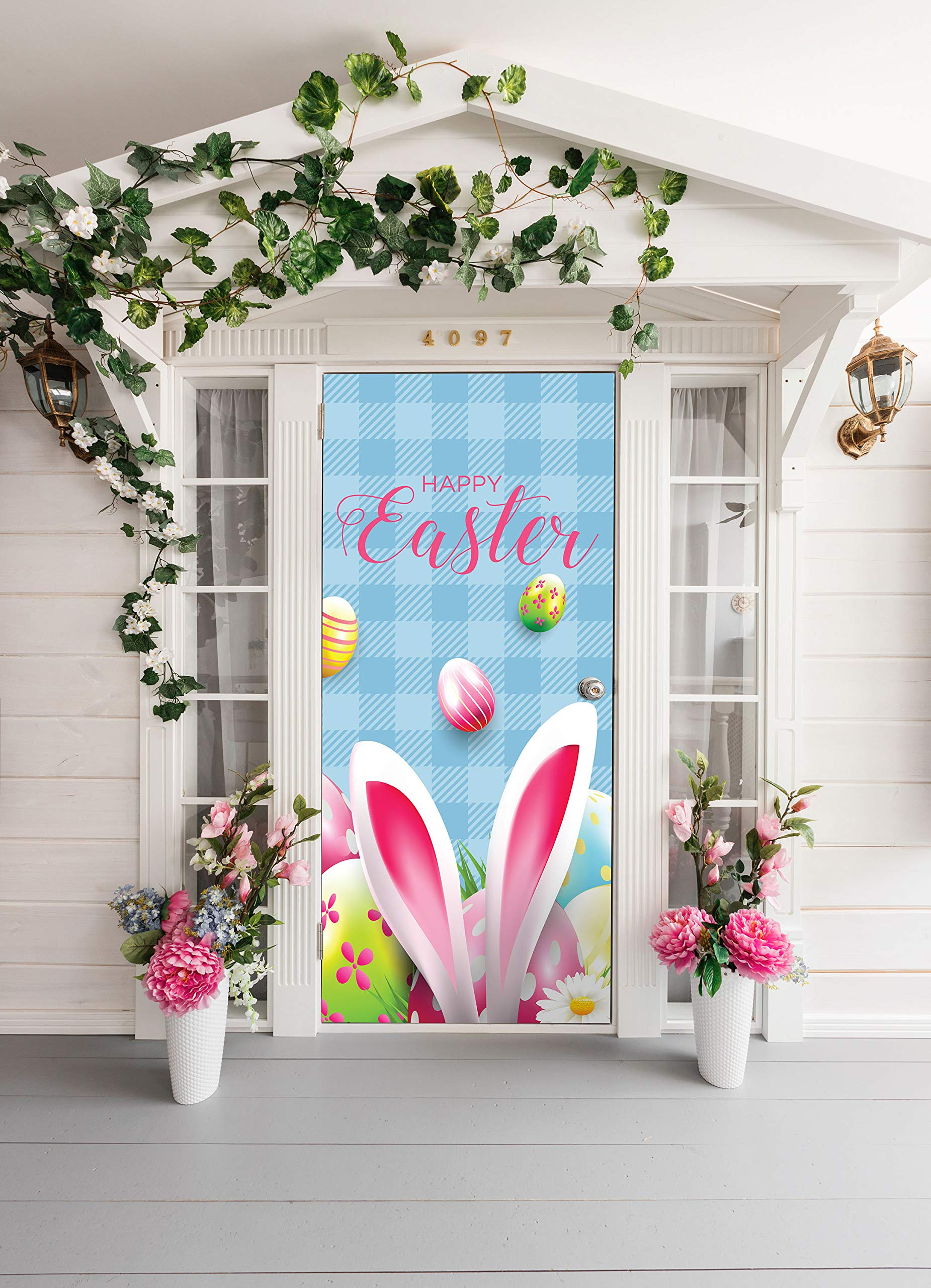 Victory Corps Happy Easter Bunny Ears - Holiday Front Door Banner Mural Sign Décor 36'' x 80'' Front Door - The Original Holiday Front Door Banner Decor