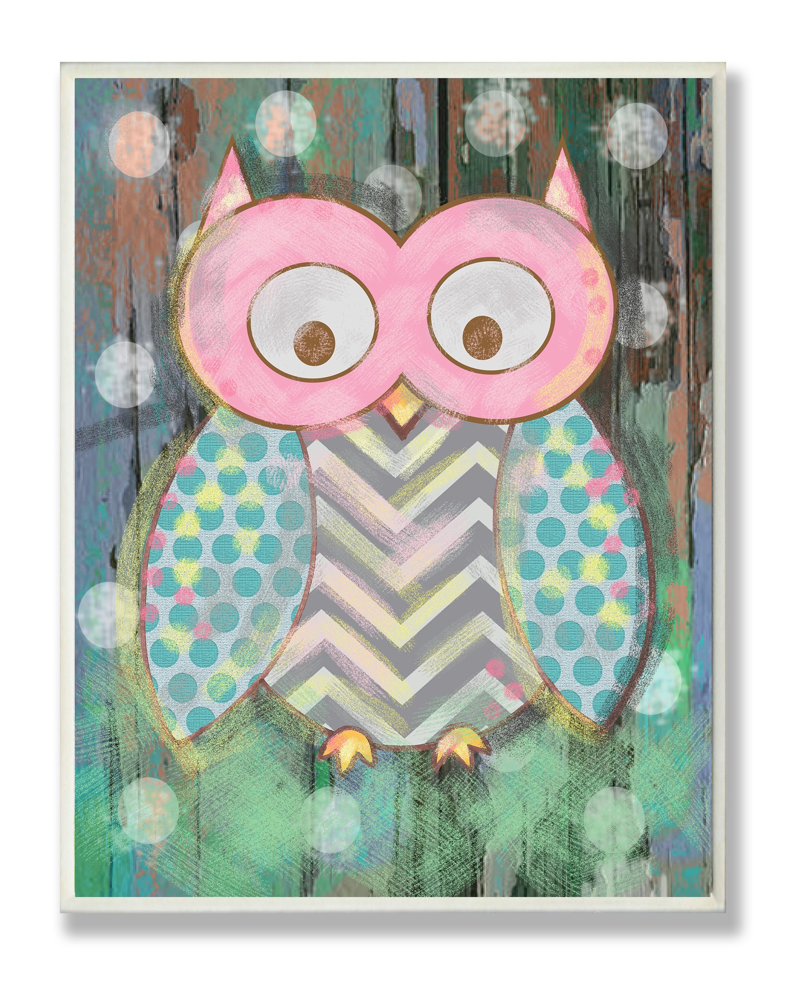 The Kids Room by Stupell Distressed Woodland Owl Rectangle Wall Plaque, 11 x 0.5 x 15, Proudly Made in USA
