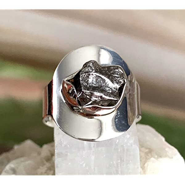 Space Celestial Jewelry Comet Ring with Authentic Campo del Cielo Raw Meteorite Shooting Star Newoise Unisex Statement Cocktail Ring