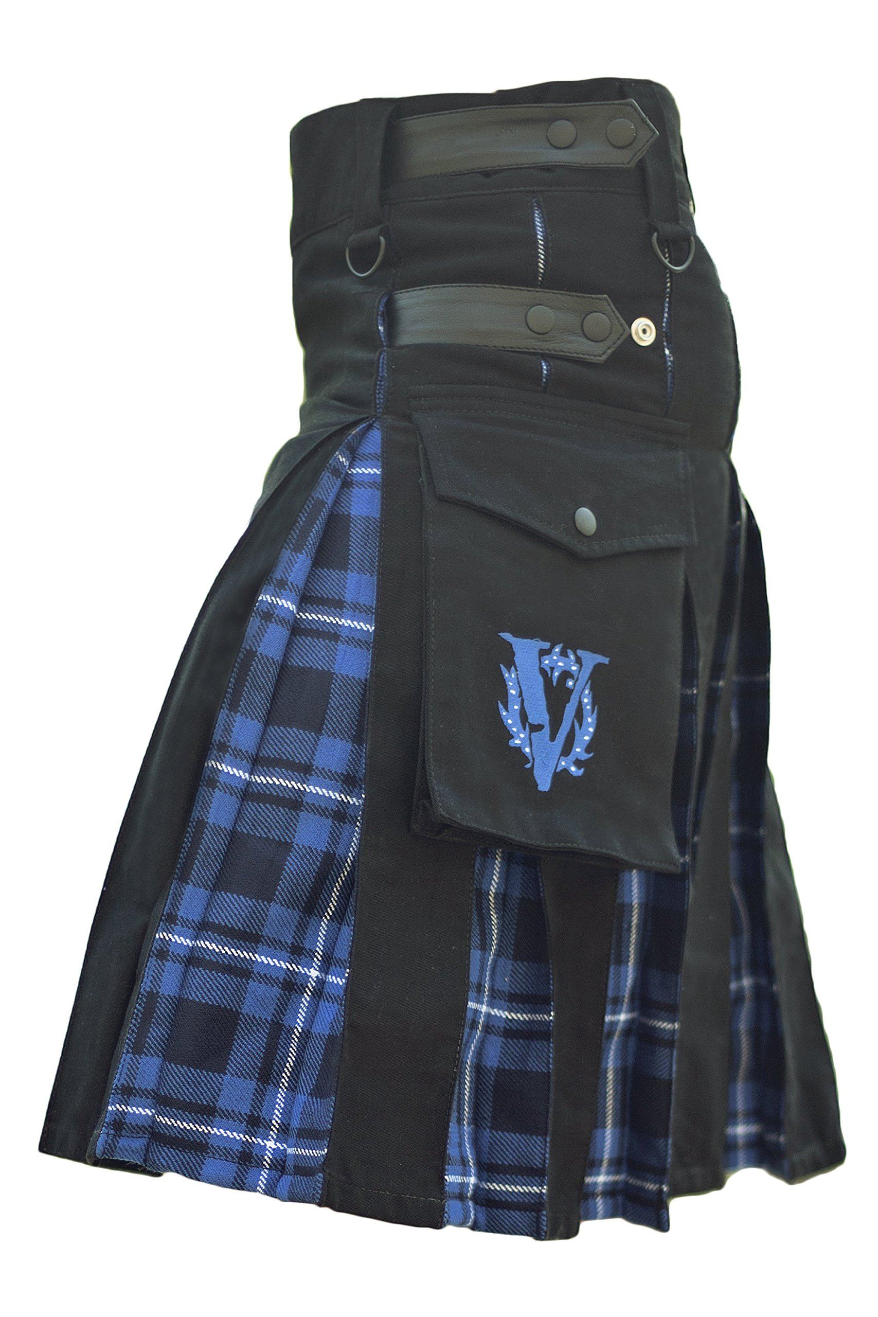 Verillas Men's Admiral Hybrid V-Kilt w/ Tartan Pleats 44 Black &Blue Plaid