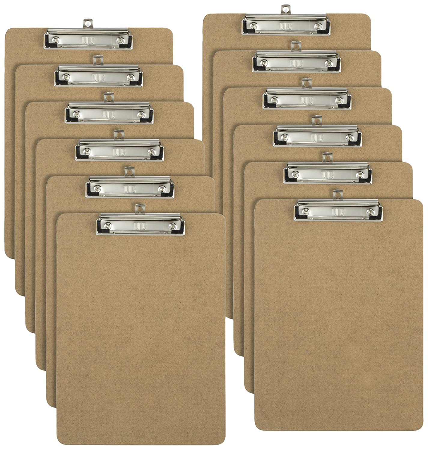 Officemate Letter Size Wood Clipboards, Low Profile Clip, 12 Pack Clipboard, Brown (83812) Officemate International