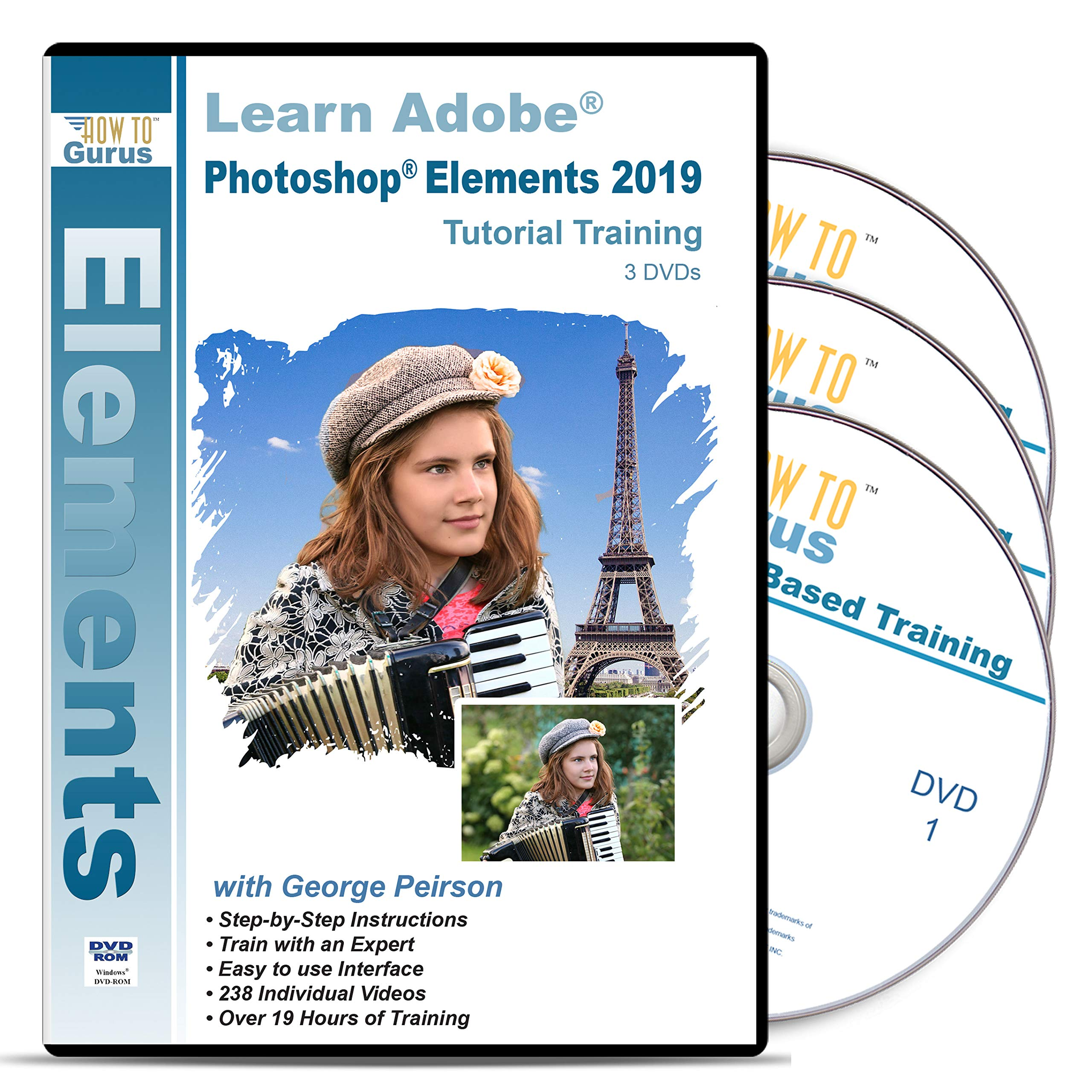 Adobe Photoshop Elements 2019 Training 3 DVDs Over 19 Hours in 238 Tutorials Includes Easy to Follow Lessons Tips Tricks by How To Gurus (Image #1)