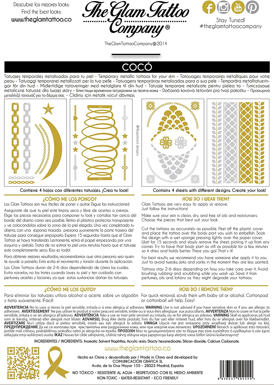 The Glam Tattoo Company Tatuaje metalico Temporal Comunicaci/ón Grafica 20140010