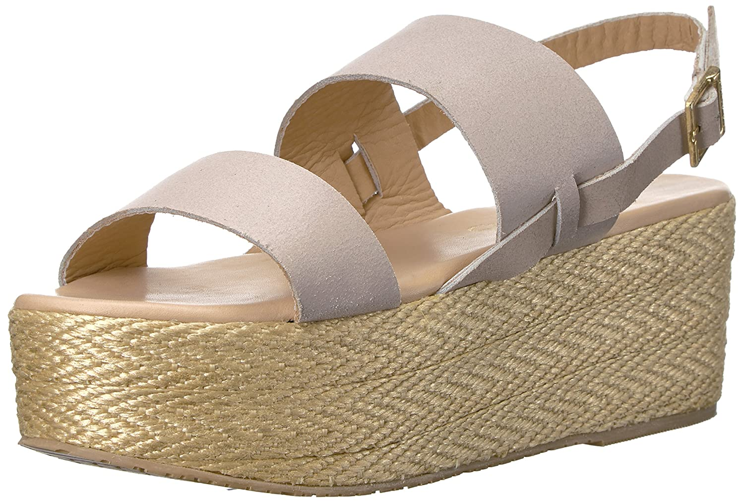 KAANAS Women's Montpellier Braided Open Toe Sling Back Espadrille Wedge Sandal B01N3OXJ8B 9 B(M) US|Nude