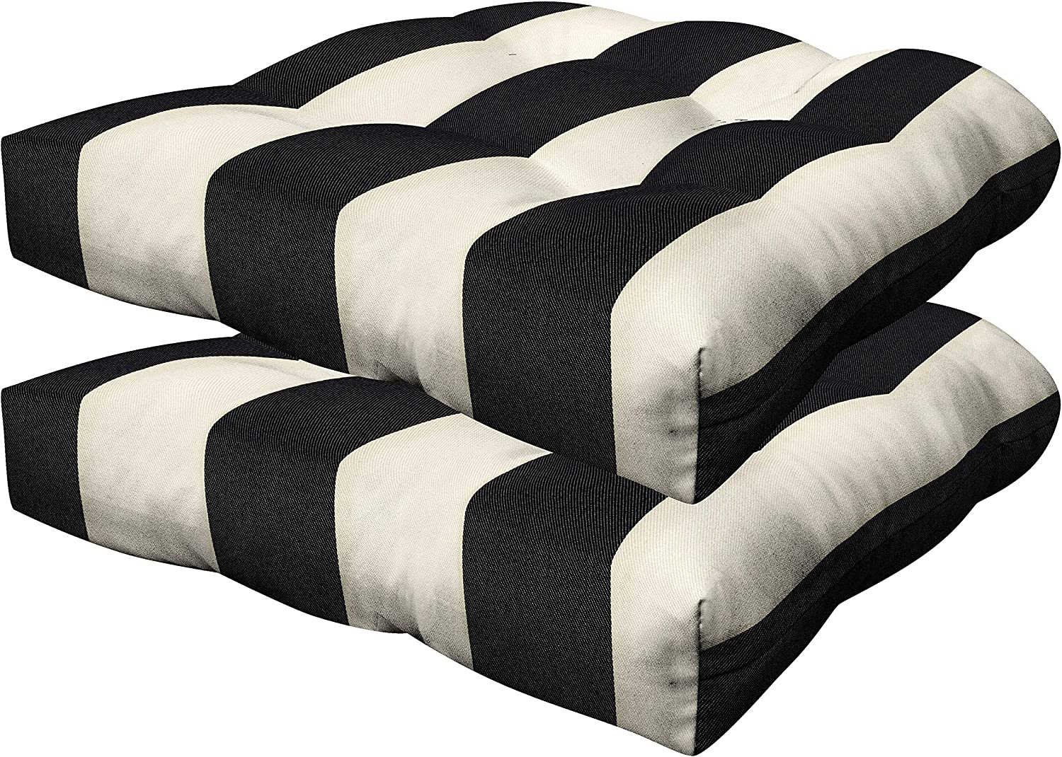 Honeycomb Indoor/Outdoor Cabana Stripe Black and Cream Contoured Tufted Seat Cushion: Recycled Polyester Fill, Weather Resistant, Pack of 2 Patio Cushions: 19.5