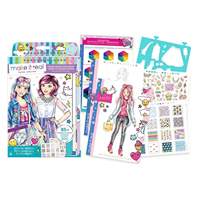 Make It Real - Fashion Design Sketchbook: Digital Dream. Inspirational Fashion Design Coloring Book for Girls. Includes Sketchbook, Stencils, Puffy Stickers, Foil Stickers, and Fashion Design Guide: Toys & Games