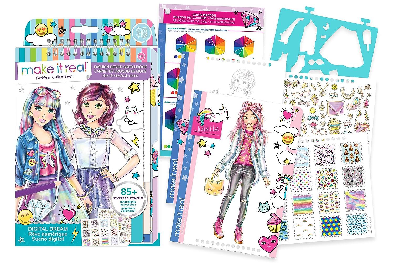Make it real fashion design sketchbook digital dream inspirational fashion design coloring book for girls includes sketchbook stencils puffy