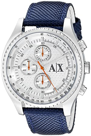 Amazon.com  Armani Exchange Men s AX1609 Blue Leather Watch  Armani ... e8788ff138