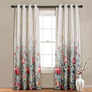 MYSKY HOME Floral Design Print Grommet top Thermal Insulated Faux Linen Room Darkening Curtains, 52 x 95 Inch, Red and Pink, 1 Panel