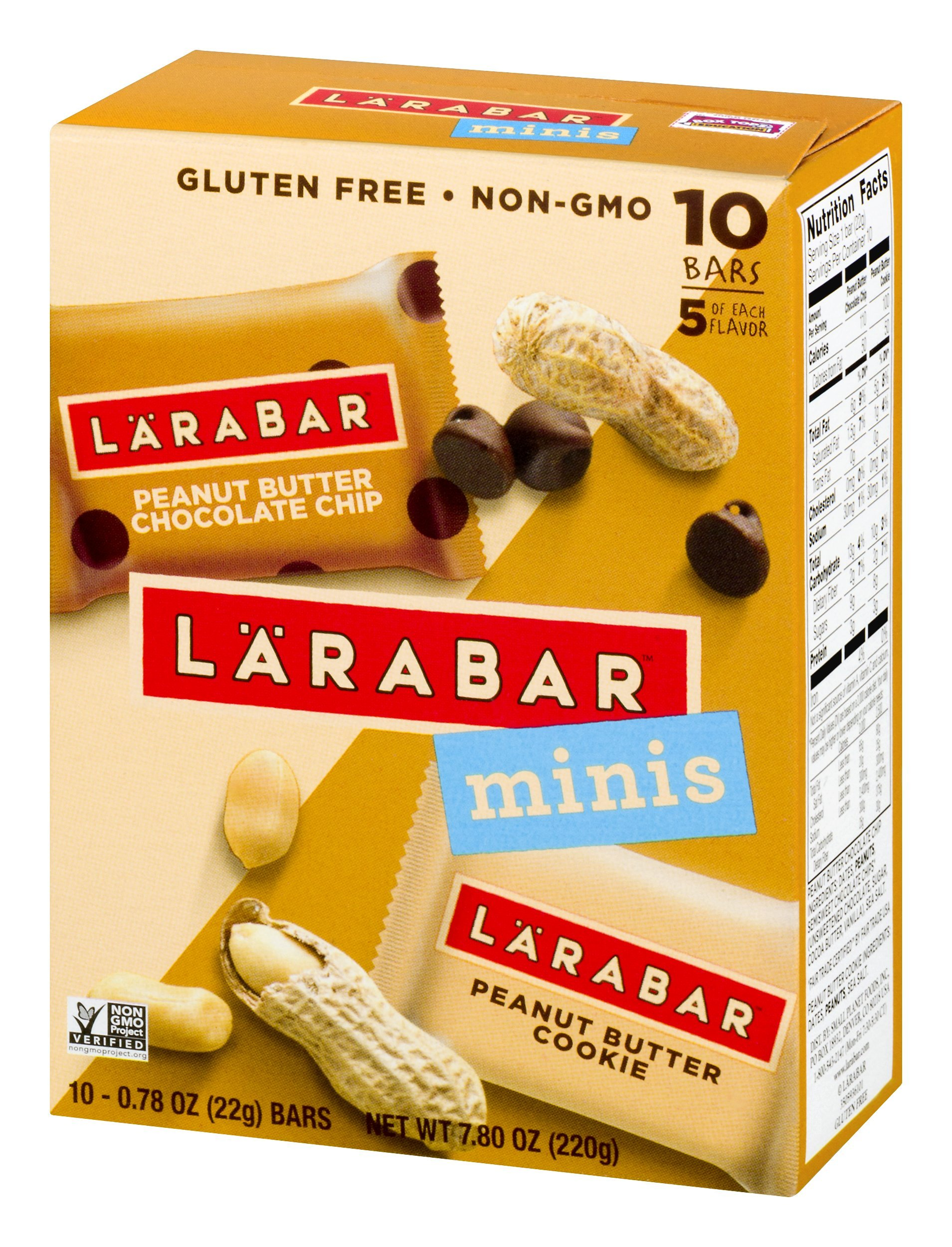 Larabar Minis Fruit and Nut Bar, Peanut Butter Chocolate Chip and Peanut Butter Cookie, 0.78 oz, 10 Count (Pack of 8)