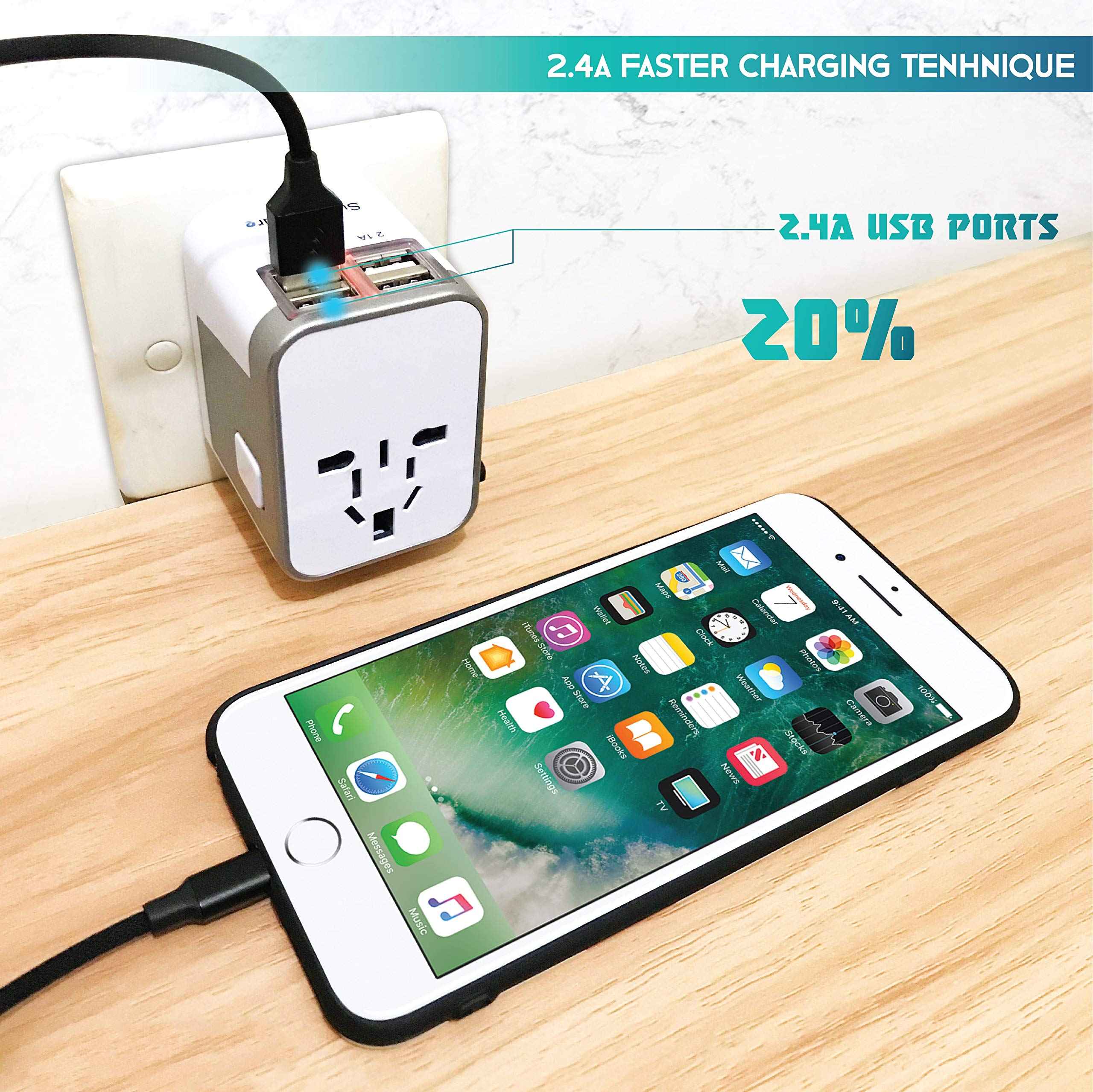 Power Plug Adapter - International Travel - (Pack of 2) w/4 USB Ports Work for 150+ Countries - 220 Volt Adapter - Travel Adapter Type C Type A Type G Type I f for UK Japan China EU Europe European by   SublimeWare   (Image #7)