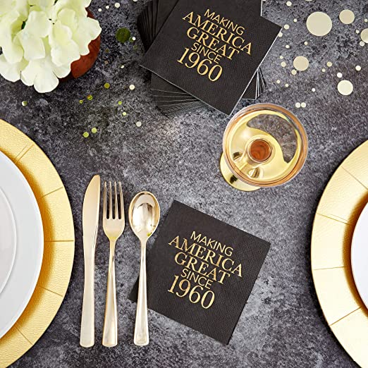 Veronica 60th Birthday Black and Gold Cocktail Napkins Making America Great Since 1959 Decoration Party Supplies 50 Pack 4.9x 4.9 Party Napkins