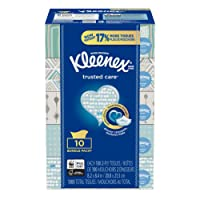 Kleenex Trusted Care Everyday Facial Tissues, Flat Box, 100 Tissues per Flat Box, 10 Packs