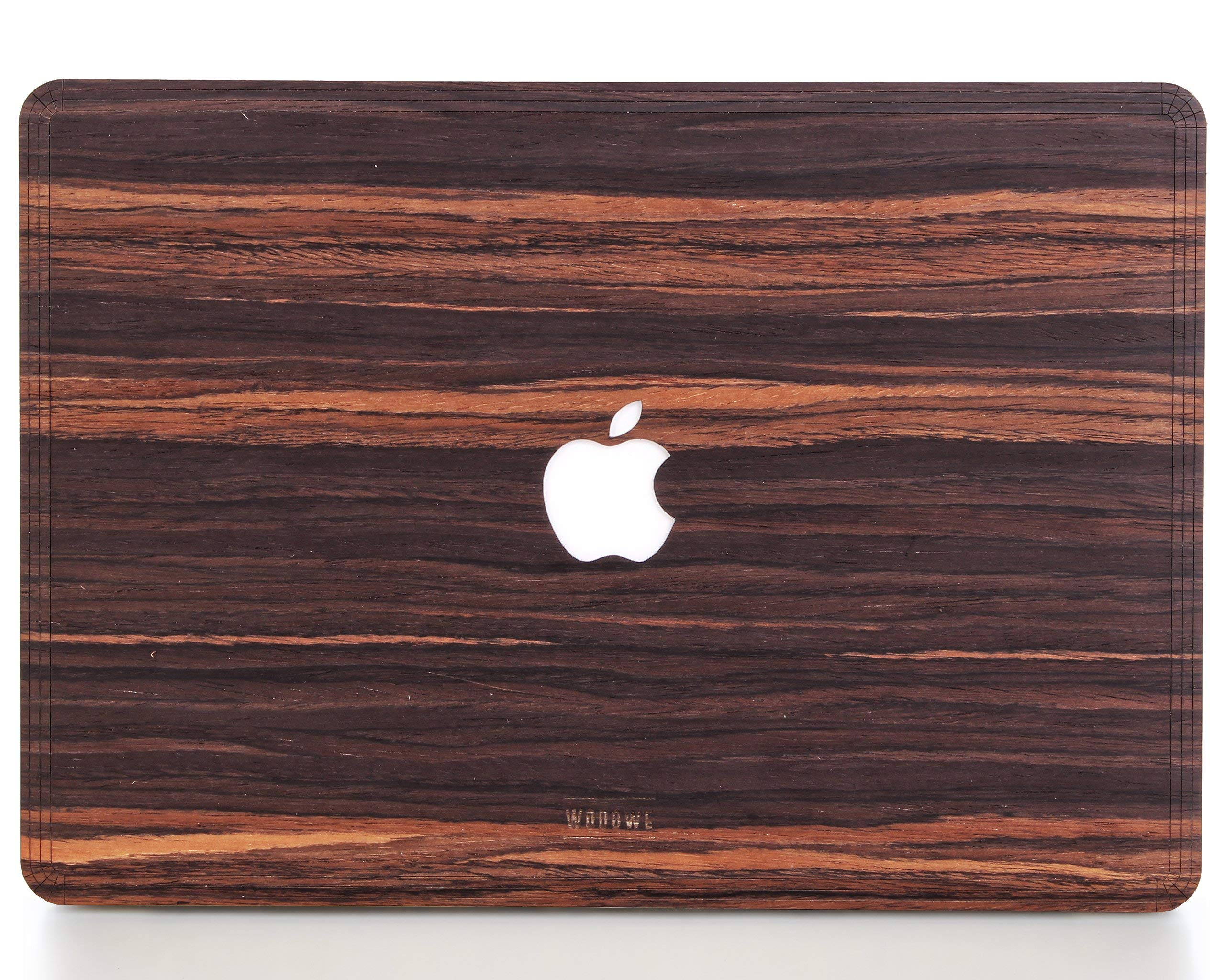 WOODWE Real Wood MacBook Skin for Mac Pro 13 inch with/Without Touch Bar | Model: A1706/A1708/A1989; Late 2016 - Mid 2018 | Natural Ebony | TOP&Bottom