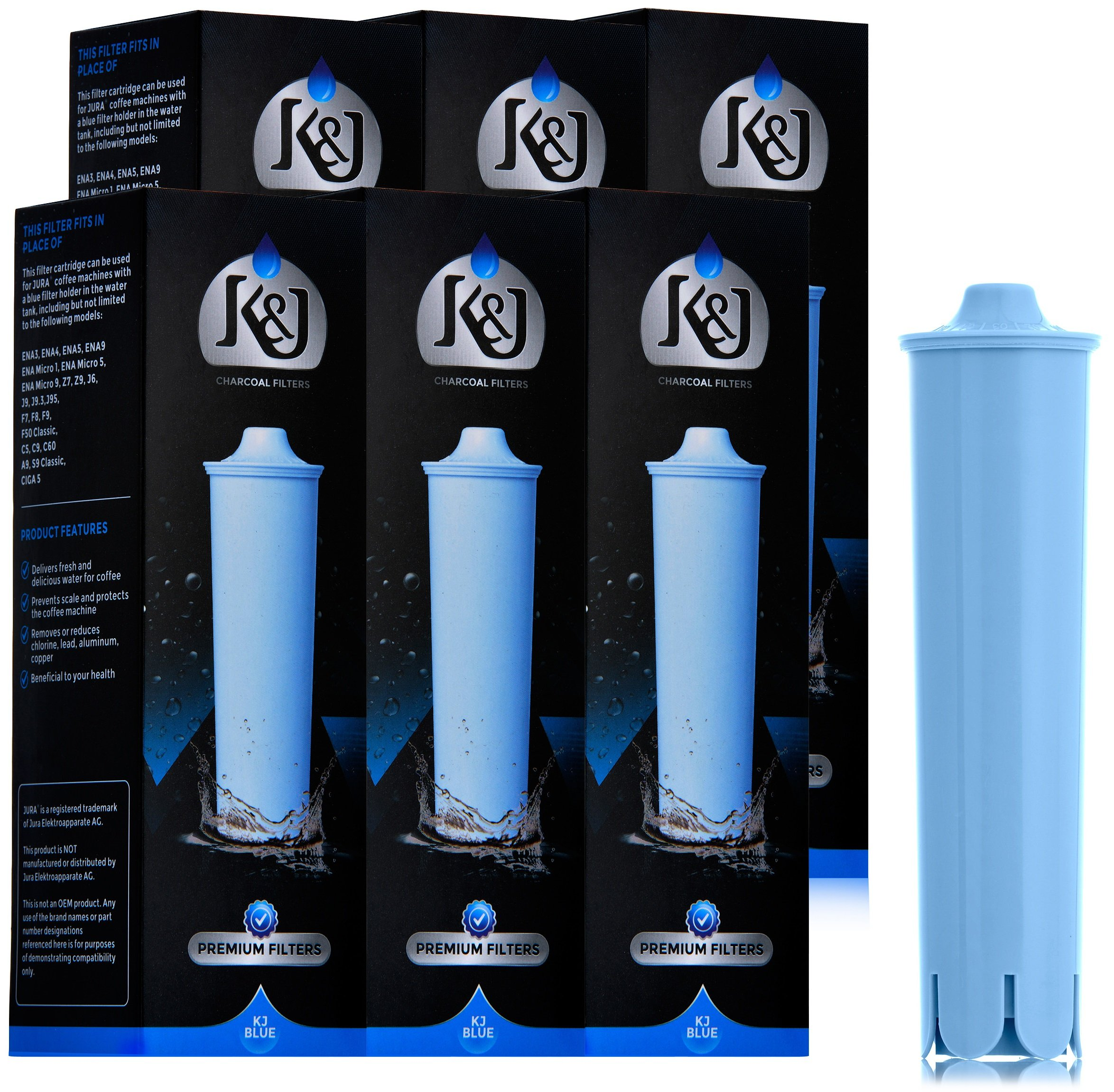 Jura Capresso Clearyl Blue Compatible Water Filters 6-Pack - Replaces Jura Blue Filters by K&J Charcoal Filters