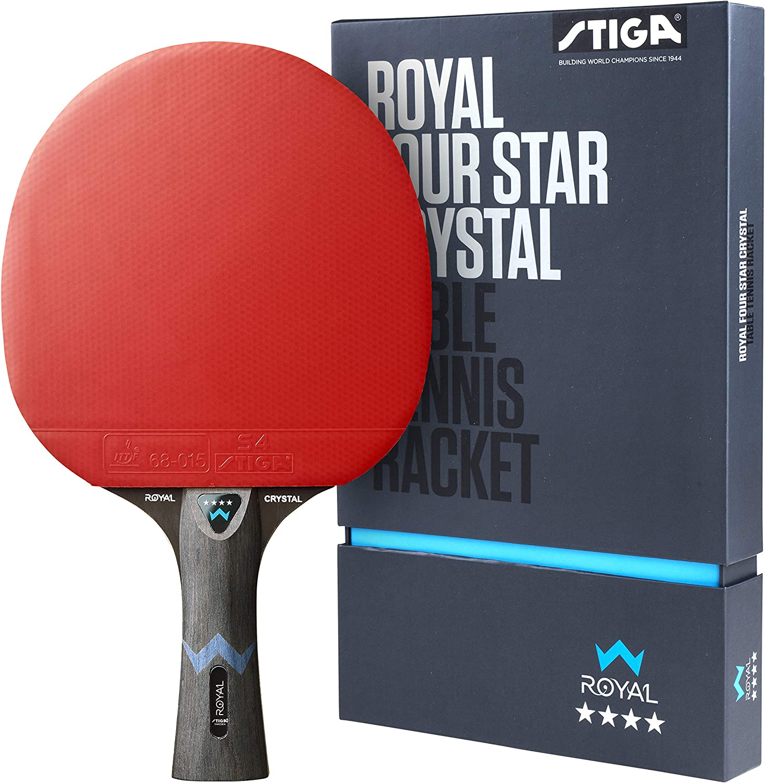 STIGA Royal Four Star Crystal Pala de Tenis de Mesa, Unisex-Adult, Black/Red, One Size
