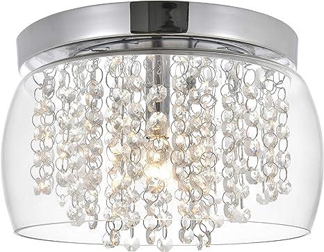 FERWVEW Black Crystal Ceiling Light Flush Mount Ceiling Light Fixture Ceiling Lamp with Crystal Beads for Bedroom Hallway Living Room Kitchen/…