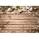 GiuMsi 5x7ft Durable Spring Farbic Wood Wall Photography Backdrop Flowers Newborn Baby Shower Easter Photo Background Photosh